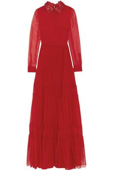 Valentino Leather-trimmed silk-chiffon gown | NET-A-PORTER