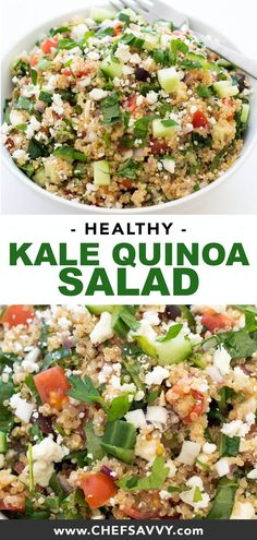 This 30 Minute Greek Kale Quinoa Salad Is A Super Healthy Side Dish, Lunch Or Dinner Absolutely Loaded With Tons Of Vegetables And Then Tossed With Lemon And Olive Oil Try This As A Light Lunch At Work. Kale Quinoa Salad, Quinoa Salad Recipes, Healthy Salad Recipes, Vegetarian Recipes, Gluten Free Quinoa Salad, Protein Salad, Avocado Recipes, Fruit Salad, Healthy Sides