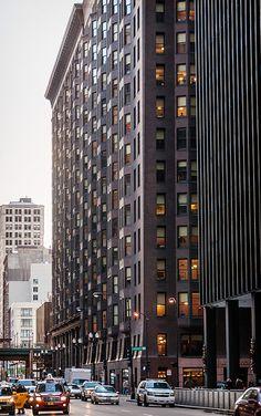 Monadnock Block (1891-1893), Dearborn Street view #2, 53 West Jackson Boulevard, Chicago, Illinois, USA
