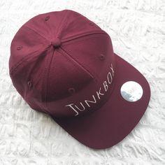 Burgundy UNISEX snapback baseball cap retro cap by JunkboxCouture