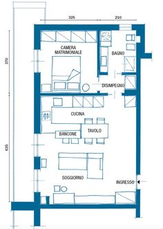 Nuovo miniappartamento eco: 55 mq in giallo e blu - Kaput Tutorial and Ideas Small Apartment Plans, Apartment Furniture Layout, Architecture Concept Drawings, Casa Patio, Home Design Software, Tiny Apartments, House Blueprints, Bedroom House Plans, House Roof