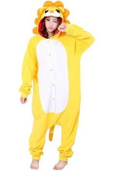 #PinkQueen - #PinkQueen Apparel Inc. Womens Hooded Lion Pajamas Onesies Animal Costume Yellow - AdoreWe.com