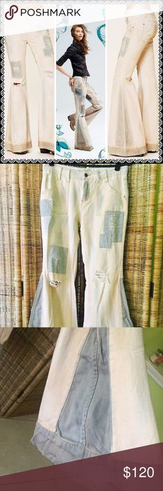Free people extreme bleach flare jeans Size 26----Rare. Creamy unusual color with perfectly placed distress, large gray bordered hems, & contrast patches. Hard to find. Orig $148. On eBay right now for $168. 100% cotton but do contain minimal stretch because fabric is softer then the Festy flare denim version. Will consider reasonable discount if purchasing multiple items, otherwise firm price. Free People Jeans Flare & Wide Leg
