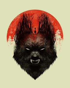 Red Rising Moon by Dan Burgess Interesting way of melding together wolf and a forest path Red Rising, Charles Perrault, She Wolf, Big Bad Wolf, Moon Print, Red Riding Hood, Graphic Art, Graphic Design, Fantasy Art