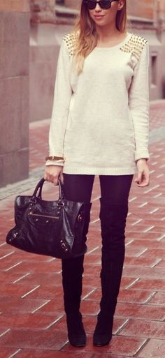 studded sweater + leggings + over the knee boots