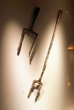 Viking fork for roasting - Forks for roasting on fire, from the Viking age. Left: Found in Gloppen, Western Norway. Left: Found in Stryn, Western Norway. Exhibited at Bergen museum.