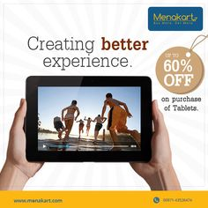 Don't let this offer go. Get great discounts on purchase of tablets. For more information visit us at https://www.menakart.com/tablets.html