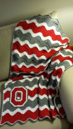 Who doesn't love the Buckeyes?  Cheer them on to victory and stay toasty warm with this soft and comfy crocheted afghan/blanket!