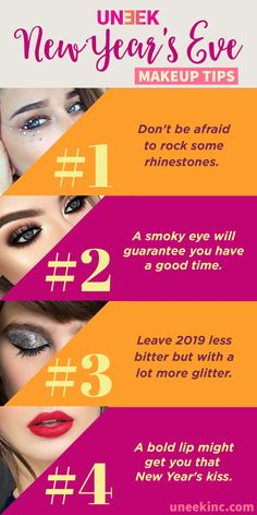 Get your glam on this New Year's Eve with these dramatic makeup ideas from Uneek! Here you'll find 4 makeup looks and tips perfect for your New Year's Eve party. So what are you waiting for? Give one of these makeup tips a try! Best Organic Makeup, Organic Makeup Brands, Makeup Tips, Makeup Ideas, New Year's Eve Cocktails, New Years Eve Makeup, Easy Hairstyles For School, Formal Hairstyles, Short Hairstyle
