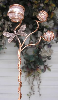 Garden Decor – Dragonfly or Butterfly Garden Stake Marker – Glass & Copper Art O… - Modern Metal Garden Art, Glass Garden, Copper Art, Copper Metal, Outdoor Ponds, Copper Tubing, Garden Markers, Pink Garden, Garden Plants