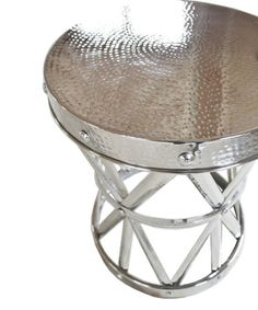 Hammered Drum Side Table, Polished Nickel