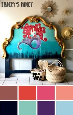 For this whimsical coastal mermaid headboard I used: In the Navy, Aubergine, Honky Tonk Red, Rustic Red, Flamingo, Peony, The Gulf,  and Dixie Belle Blue Chalk Paint Colors #whimsical #dixiebelle chalk painted headboard! See the entire DIY furniture makeover on traceysfancy.com  | Dixie Belle Chalk Paint Colors | Tracey Bellion | Chalk Type Paint | Paint Colors Ideas | Furniture| How to Paint Furniture | DIY Paint Projects | Painted Wall Art | Chalk Mineral Paint | Color Palette | Mermaid…