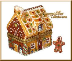 Gingerbread House with Gingerbread Man | Porcelain Box crafted in Limoges, France (Beauchamp)