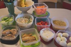 "Meal Prep Breakdown: Prepare one soup Prepare one full meal Broil 3-4 chicken breasts (for salads, sandwiches, etc.) Hard boil half a dozen eggs Wash/prep fruits and veggies Bake one ""dessert"" (healthy muffins, granola bars, etc.) Put together smoothie bags (more on that soon)"