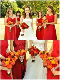 Wedding of EMALEE and BRENT QUICKEL. Photo courtesy of LINDSAY ROMO.  Red - orange bouquet for the Fall Red Yellow Weddings, Orange Wedding Flowers, Red Fall Weddings, Orange Wedding Themes, Fall Wedding Bridesmaids, Red Bouquet Wedding, Wedding Dress, Wedding Hair, Autumn Wedding