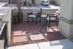 Courtyard before and after. This may be the cure for my snake infested courtyard.  Forget the plants and use pavers.