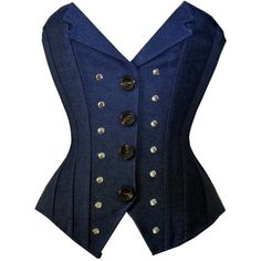Women's Blue Denim Revit Studded Corset Vest Bustier Basque Waistcoat... (61 RON) ❤ liked on Polyvore featuring tops, corset, shirts, blue vest, blue top, blue shirt, denim corset top and bustier tops