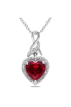 Ruby & Diamond Heart Pendant In Silver
