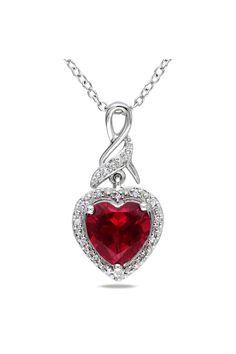 Ruby & Diamond Heart Pendant In Silver