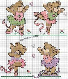 Ositas bailarinas punto de cruz. Dancer Teddy bear cross stitch pattern