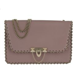 Valentino Shoulder Bag - Demilune Small Leather Bag Lipstick - in rose... ($2,090) ❤ liked on Polyvore featuring bags, handbags, shoulder bags, rose, purse shoulder bag, leather man bags, brown shoulder bag, man leather shoulder bag and leather purses
