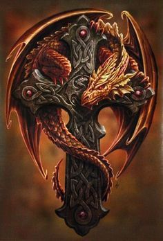 Anne Stokes Wall Art Scroll Woodland Guardian Orange Dragon with Celtic Cross Celtic Dragon Tattoos, Dragon Tattoo Designs, Magical Creatures, Fantasy Creatures, Anne Stokes, Dragon Artwork, Bild Tattoos, Dragon Pictures, Dragon's Lair
