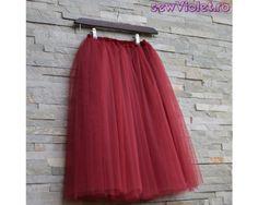 Fusta din tulle fin, lungime midi, betelia pe elastic, jupa din satin elastic, moale Satin, Skirts, Outfits, Handmade, Fashion, Tulle, Moda, Suits, Skirt