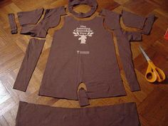 Toddler romper from dad's tee shirt! Just sew the inseam (inner thigh) - easy!