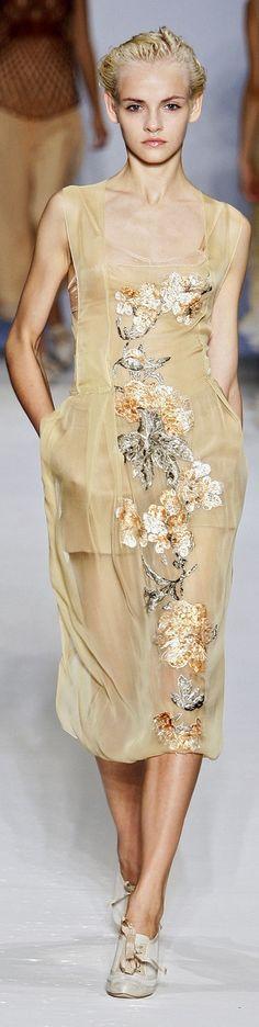 Alberta Ferretti ~ Feminine Sheer Nude Floral Dress, 2010 Milan
