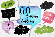 60 speech bubbles!watercolor+EPS by holaholga on @creativemarket