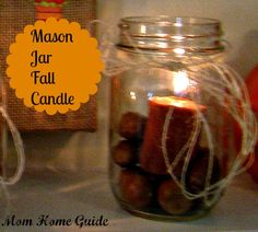 Fall mason jar candles with autumn nuts