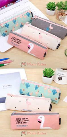 This flamingo designed pencil pouch is washable and has enough room for your writing instruments and accessories. Pencil Case Pouch, Pencil Cases, Flamingo Fabric, School Accessories, Canvas Designs, Writing Instruments, School Supplies, Zip Around Wallet, Kitten