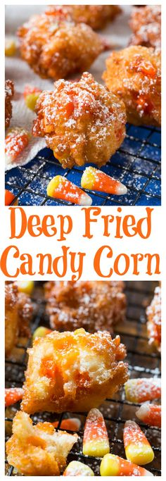Deep Fried Candy Corn -surpirisingly delicious I wonder if it will be at the Rodeo next year. Candy Recipes, Fall Recipes, Holiday Recipes, Dessert Recipes, Corn Recipes, Fall Desserts, Deep Fried Desserts, Holiday Foods, Recipies