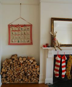 Scandinavian style fireplace. This is how I want my house to look at Christmas time!