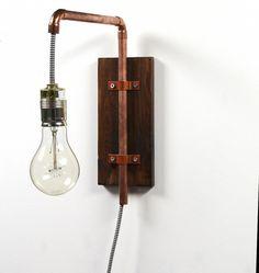 Wandlampe im Industriedesign aus Kupfer / hanging lamp made of wood and copper, industrial design by Kupferkult via DaWanda.com