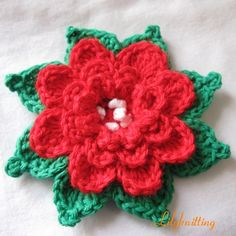 PATTERN – Crocheted Flower Applique, Brooch — Flower 50 « Lilyknitting – Patterns and Crochet