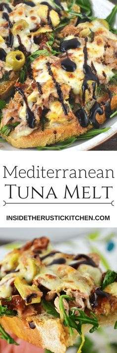 This is the best tuna melt I've ever tasted! With a Mediterranean twist of artichokes, sun dried tomatoes and olives topped with mozzarella cheese and balsamic glaze. It's so delicious you'll love it www.insidetherustickitchen.com