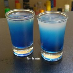 ☆ Sexy Blue Eyes Cocktail Recipe.。 1 oz. Blue Raspberry Vodka {Don't Use UV Blue, it must be clear} 1/2 oz. Peach Schnapps.。1/2 oz. Lime Juice.。Shake with ice and pour.。Mix 1/2 oz Blueberry Schnapps and 1/2 oz Simple Syrup then drizzle in to make the Blue Radiant.。☆