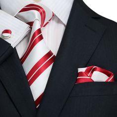 Red and White Striped Necktie Set JPM1898M