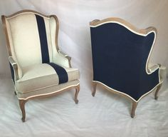 SOLD - Pair of Custom Striped Wing Back Chairs with Navy Linen Organic Bamboo Beige Fabric and Taupe Fabric by Element20 on Etsy https://www.etsy.com/listing/257832864/sold-pair-of-custom-striped-wing-back