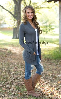 The Pink Lily Boutique - Solid Reputation Cardigan Charcoal , $34.00 (http://thepinklilyboutique.com/solid-reputation-cardigan-charcoal/)