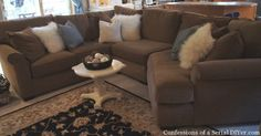 Check this out!  How she destroyed and rebuilt her sectional!  Gutsy!
