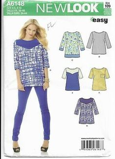 3013541366c Simplicity New Look 6148 Pattern Easy Tunic Top Size 8 10 12 14 16 18 Uncut  39363261483 | eBay