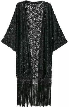 With Tassel Lace Loose Kimono -SheIn(Sheinside)