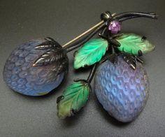 AUSTRIA glass multi colour strawberry fruit brooch