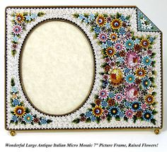"LG Antique Italian Micro Mosaic 7"" Picture Frame, Raised Floral"