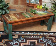 Western Furniture: Old Wood Turquoise Bench|Lone Star Western Decor