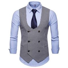 Riinr 2019 Spring Autumn Man's Vest Vintage Waistcoat Men Suit Vest U-shaped Collar Houndstooth Men's Casual Vest Male Clothing Waistcoat Men, Mens Suit Vest, Mens Suits, Shirt Vest, Vest Jacket, Casual Suit, Men Casual, Smart Casual Brands, Blue Tuxedo Jacket