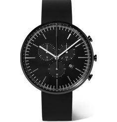 Uniform Wares - Chronograph PVD-Coated Stainless Steel and Rubber Wristwatch Mens Clothing Trends, Uniform Wares, Mens Designer Watches, Rubber Watches, Black Stainless Steel, Fashion Watches, Men's Fashion, Fashion Design, Quartz Watch