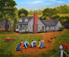 Boys Shooting Marbles Country Memories Old House Flowers Bird House Green Summer Chickens Tire Swing Folk Art by Arie Reinhardt Taylor by jagartist on Etsy